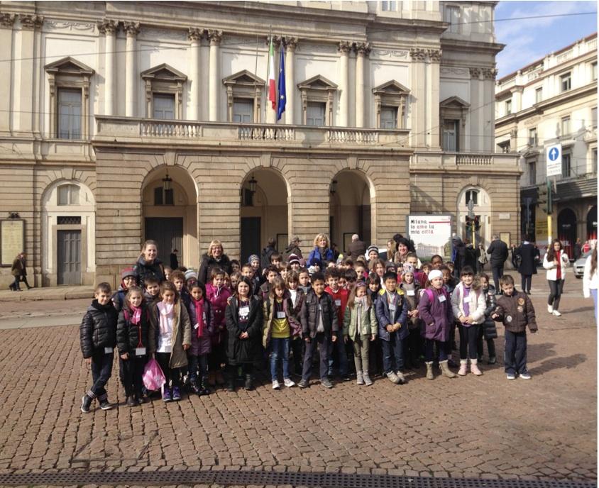 Gli alunni davanti al Teatro Alla Scala di Milano