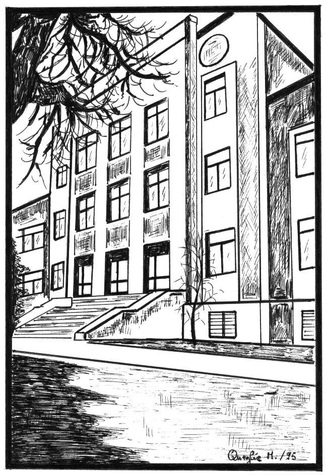 L'ingresso dell'Olivelli in un disegno di Marta Comeglio
